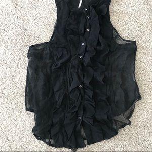 Free people black ruffle sleeveless top